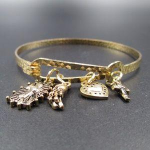 Jewelry - Vintage Gold Tone Stylish Religious Charm Bracelet